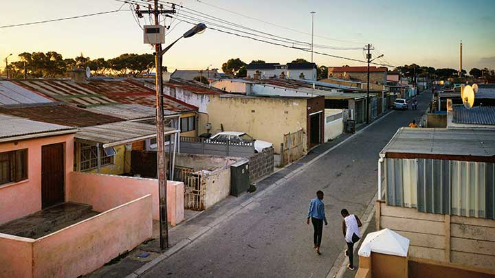 Elevated view of Cape Town Langa housing area in South Africa at twilight